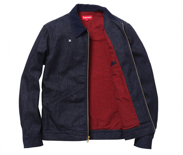 Worker's Jacket With Waxed Cotton Flannel Lining Dark Denim